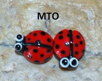 Lampwork Beads, Glass Beads, Made To Order, Ladybug,  eyes, Earring Beads SRA #106 by CC Design