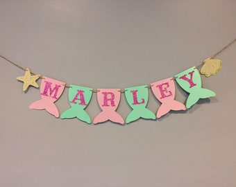 Mermaid Name Banner, baby shower, first birthday, mermaid party, under the sea, mermaid banner, PINK and MINT