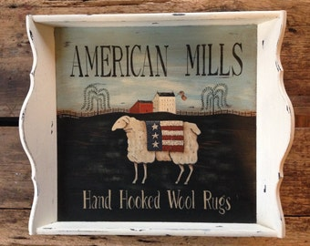"""Hand Painted Sheep Tray, """"American Mills - Hand Hooked Wool Rugs"""" by Donna Atkins. Prim New England Americana Folk Art, Rustic, Distressed."""