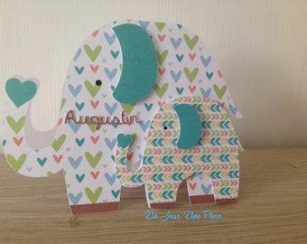 Elephant themed birth announcement