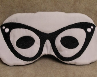Embroidered Eye Mask, Sleeping, Cute Sleep Mask for Kids or Adults, Sleep Blindfold, Slumber Mask, Eye Shade, Glasses Design, Handmade