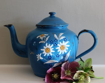 Vintage French Blue Enamel Teapot with Daisies