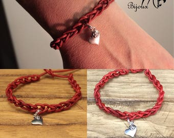 Red leather with small silver heart bracelet