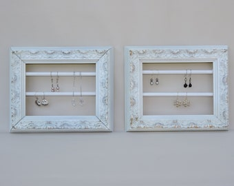 Antique Frame jewelry storage  I  Earring holder  I  White picture frame  I  Shabby Chic  I  Girls room decor