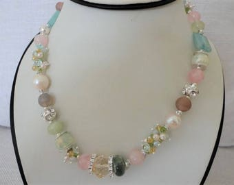 multy stone necklace, semiprecious stone necklace, colorful necklaces, silver statement necklace, gemstone crystal necklace,