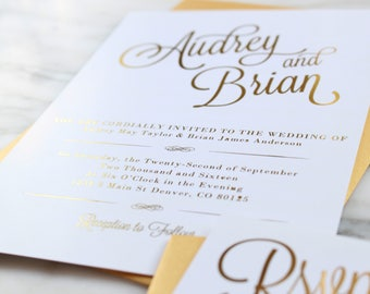 Audrey Gold Foil Wedding Invitation Suite // Custom Wedding Invitations // Calligraphy Invitation // Modern Wedding Invitation // RSVP Card
