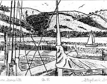 View from Sausalito  - Original Etching & Engraving, Hand-printed, Limited Edition