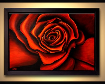 """Red Rose Painting Acrylic Red Flower Painting - FRAMED -  Ready to Hang by Osnat 36"""""""