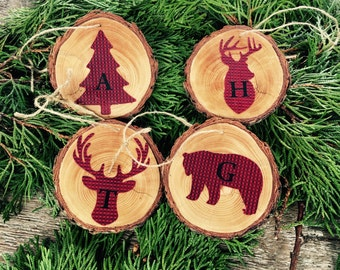Set of 4 Buffalo red and black plaid rustic wood coasters or ornaments monogrammed deer head moose antler lodge cabin tree gift checkered