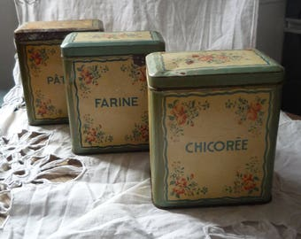 old boxes - Old metal french tins, antique metal boxes