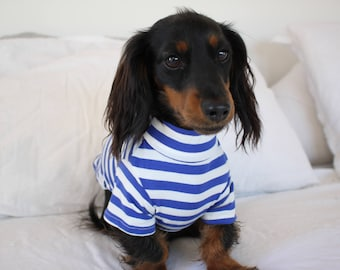 Striped Tee Blue Navy and White Dog Tee T-Shirt Accessories Designer Fashion Apparel Pet Clothing Clothes Top Basic Jersey Shirt Pablo & Co.
