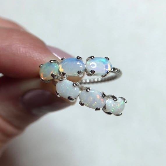 Opal Trilogy Rings; Sterling silver rings with Coober Pedy opals