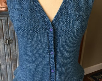 Vintage Style Hand Knit Indigo Cotton Vest Boho Artist Victorian Edwardian Antique Glass Buttons Steampunk