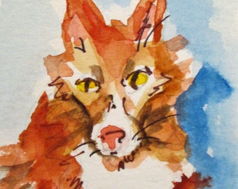 Aceo red fox miniature collectible watercolor painting Art by Delilah