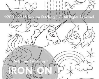 Unicorn Embroidery Iron-On Transfer / Sublime Stitching / Unicorn Craft / Stitch on Jeans / Iron-on Embroidery / Fantasy Embroidery Pack