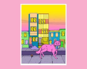 9x12 Gentrification Wolf Art Giclee Print - Secret Admirer Cover Art from Issue #1