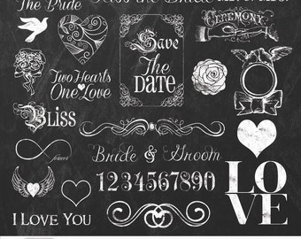 "Wedding Chalkboard Cliparts ""WEDDING CHALK Clipart"" chalkboard graphic, wedding clipart, invites,save the date, photographers, scrapbooking"
