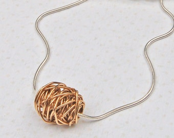 Sterling Silver and 14ct Yellow Gold  Entwined Necklace, Twisted Bead Necklace, Gift for Mum, Silver and Gold Necklace, Bridesmaid Gift