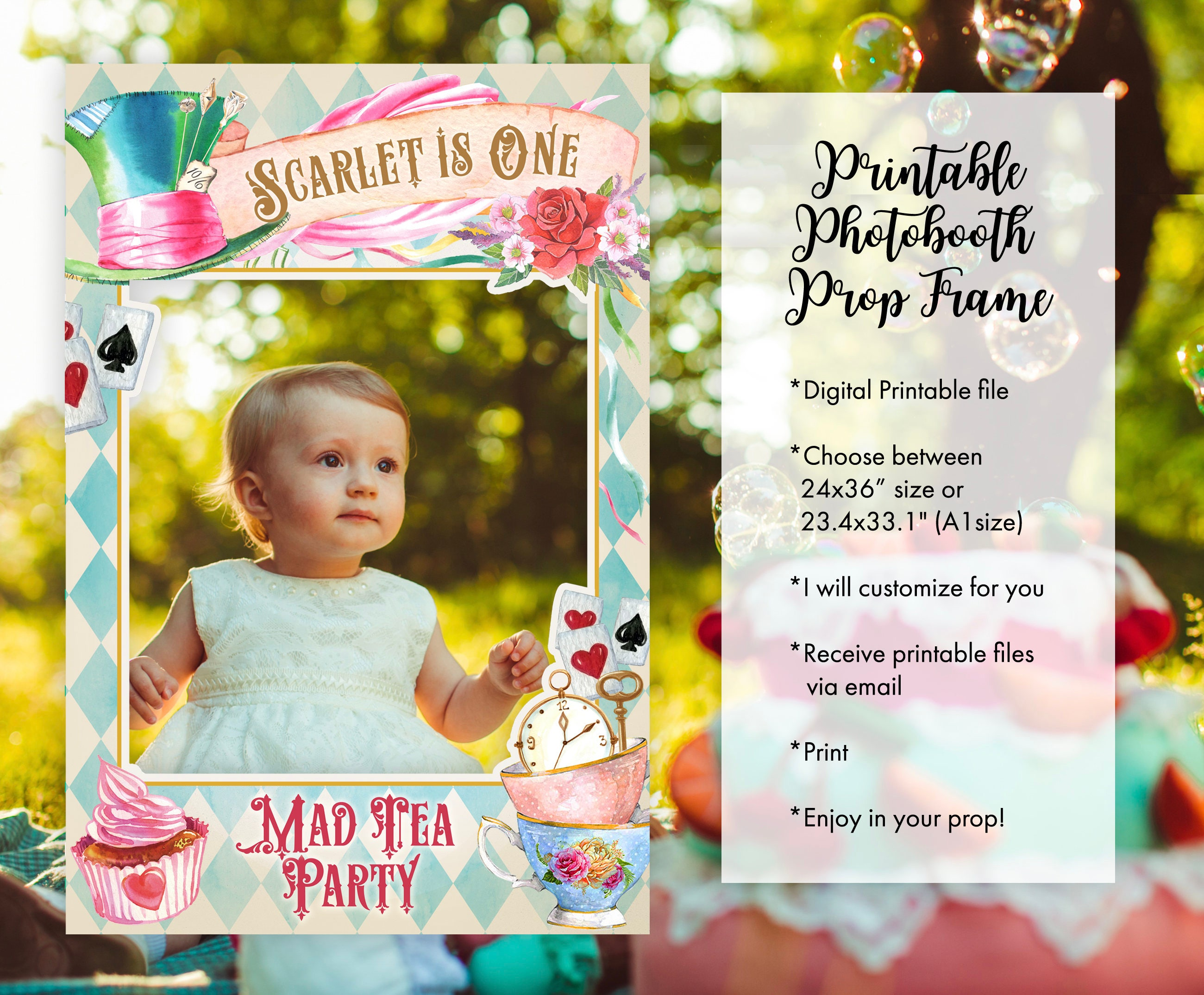 Alice in wonderland photo booth frame props floral mad tea zoom jeuxipadfo Choice Image