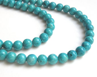 Riverstone beads in turquoise blue round gemstone 6mm full strand 9441GS