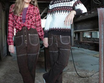 60s Vintage Suede BELL BOTTOM PANTS Genuine Leather Brown Boho Hippie Festivals Pant Super High Waist Guys - Gals stitch pocket Bottoms 33 W