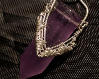 Amethyst point,purple, mauve,  wire wrapped, fine silver.