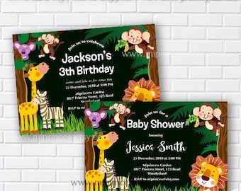 jungle baby shower, safari baby shower, jungle animals,  jungle birthday, safari birthday,  little boy birthday,  first birthday, card 363