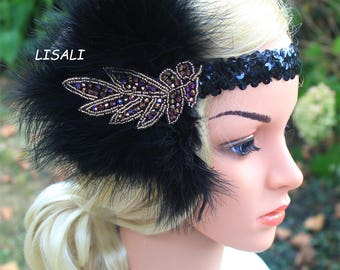 LISALI 1920s Flapper Headbands Great Gatsby Headpiece with Black Feather Deep Purple Crystals Hair Accessories …