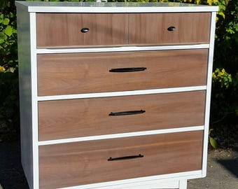 Custom to order midcentury modern 2 tone chest