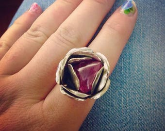 Pink Amethyst Rose Ring