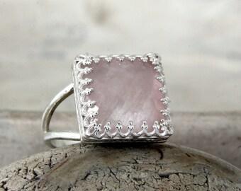 ETSY BIRTHDAY SALE - love ring,rose quartz ring,silver ring,semiprecious ring,birthday gift,October birthstone ring,i love you ring,brida