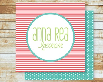 Personalized Calling Cards / Gift Tags / Pinstripes
