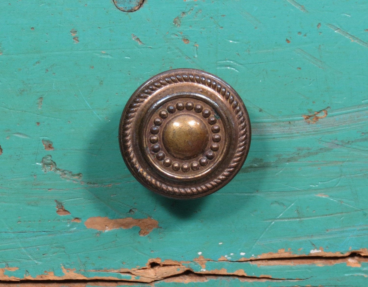 Vintage Drawer Pull . Brass Steel Knob . 1920s - 1940s Era . Ornate ...