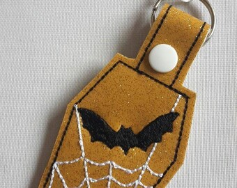 Gold sparkly coffin snap tab, cobweb, bat, Halloween gift, New Home gift, Party gift, key chain, UK