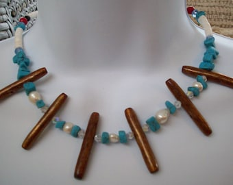 wooden spindle turquoise pearl gemstone necklace