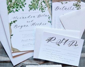 Oak Tree Wedding Invitation suite | Watercolor