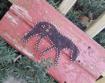 String Art Horse on Barnwood
