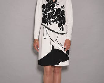 Black dress, White dress, casual dresses, women dresses, V neck dress, long sleeve dress, elegant dress, unique dress, jersey dress