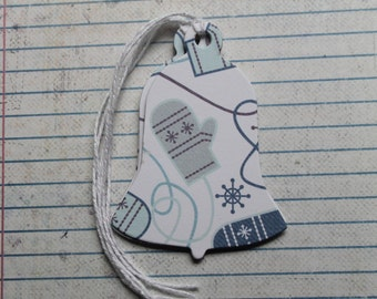 21 Bell shaped Gift Tags with mitten design...patterned paper over chipboard Christmas Hang Tags
