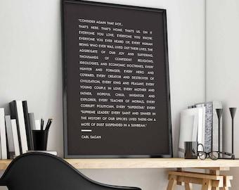Carl Sagan print, Pale Blue Dot print, Carl Sagan quote, Space print, Earth print, Geek poster, Science gift, Literary Print, Science Art
