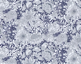 Fat eighth Fairy Land C Liberty print, garden and animal floral Liberty of London tana lawn