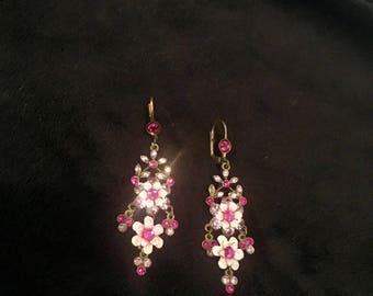 Vintage Fuchsia Crystal Flower Earrings