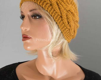 Hand knitted headband, ear-warmer, headband, women,