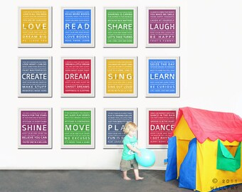 Word art wall art for kids. Playroom prints, playroom wall art for children Inspiration typography. SET OF 12 prints .Kids art by Wallfry