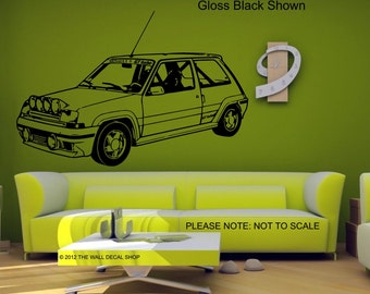 Renault 5 Gt Turbo - Wall Decal - Wall art Sticker - ( Black outline shown )