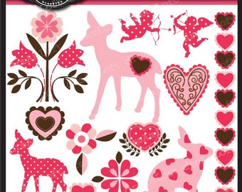 Paper Hearts Collection Woodland Fawn Edition Clipart Elements for valentine's day, cards, stationary, invitations, scrapbooking