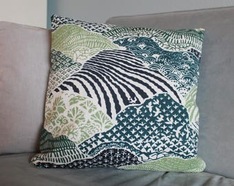 Reversible Cotton Abstract Print Throw Pillow