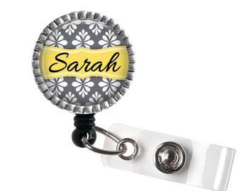 Damask Personalized Name ID Badge Reel, Medical ID Badge