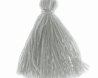 30mm light grey cotton tassel