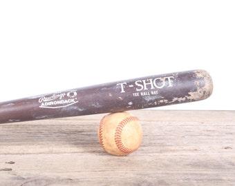 Vintage Wooden Baseball Bat / Baseball Decor / Rawlings Adirondack T-Shot Tee Ball Bat / Wood Bat / Sports Decorations / Brown Retro Bat